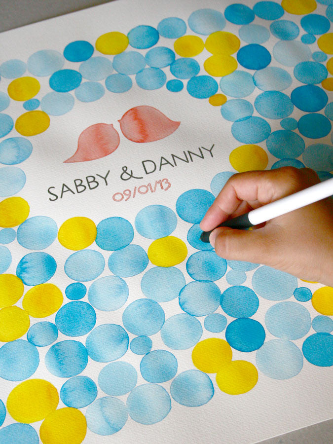 Watercolor Wedding Guest Book Signature Pattern - 200 guest signatures Guest book alternative,  wedding penny tiles, Stone watercolor