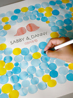 Load image into Gallery viewer, Watercolor Wedding Guest Book Signature Pattern - 200 guest signatures Guest book alternative,  wedding penny tiles, Stone watercolor