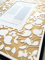 Load image into Gallery viewer, Ketubah Papercut - Three layer Ketubah - Papercut layer Metallic gold layer - BELOVED GARDEN