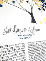 Load image into Gallery viewer, New York NY Gold Leaf Ketubah watercolor painting