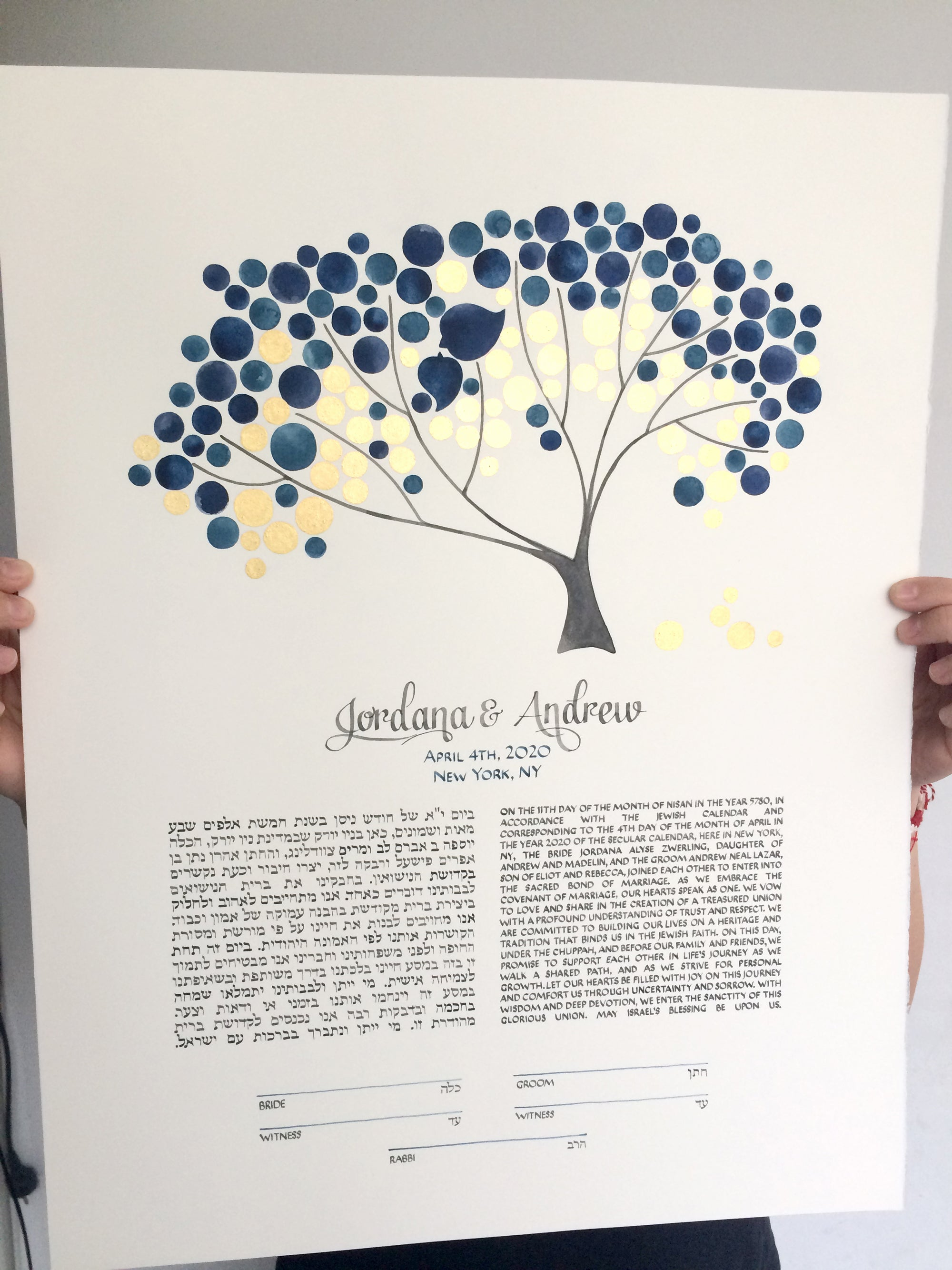 New York NY Gold Leaf Ketubah watercolor painting