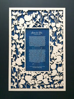 Load image into Gallery viewer, Ketubah wood - woodcut or papercut layered ketubah - BELOVED GARDEN
