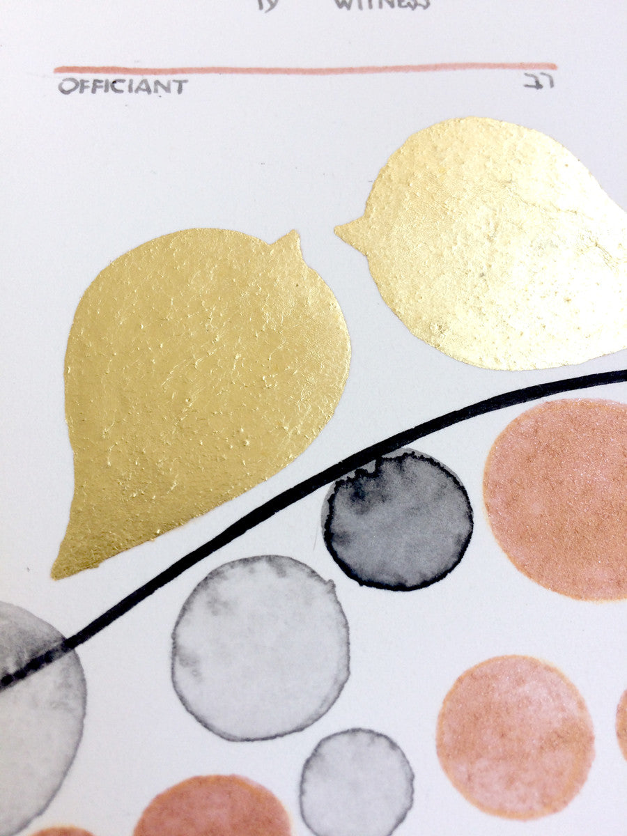 Gold Leaf Ketubah Modern Ketubah watercolor painting- Golden Love Birds on Twigs