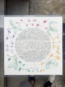 Watercolor Greenery Floral Wreath Ketubah < Trilingual Large Calligraphy