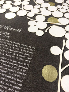 Papercut Ketubah with Gold Leaf ↛ Custom Ketubah papercut