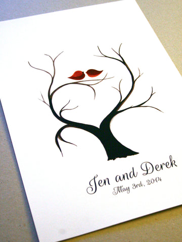 Custom Fingerprint Wedding Guest Book alternative - 100 Guest fingerprints wedding guestbook, tree guest book