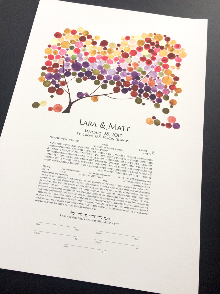 Personalized Ketubah Tree of Life and Love Birds - Spectrum