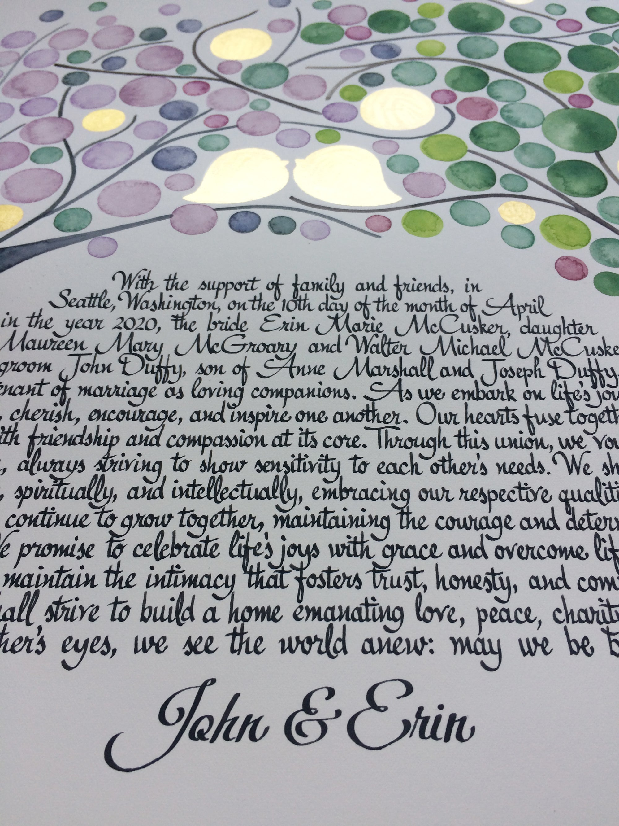 English only FOUR SEASONS KETUBAH ⤱ watercolor custom painting
