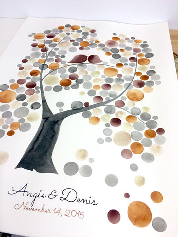 Custom Wedding Guest Book Alternative Tree of Life - 250 guest signatures Large Unique Wedding, Event Tree, love birds rustic tree of life