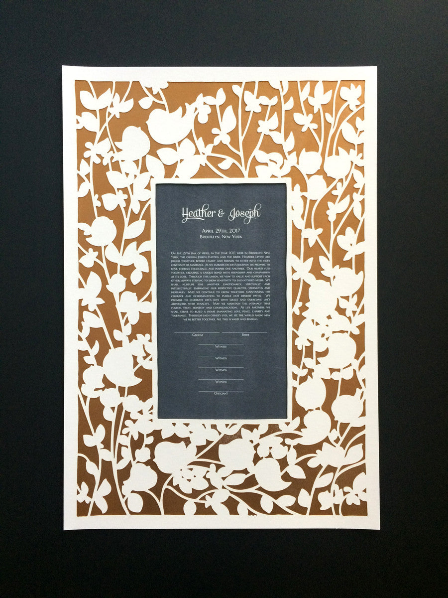 Papercut Ketubah in three layers - Papercut, art print and Metallic gold layer - BELOVED GARDEN design
