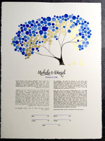 Load image into Gallery viewer, Ketubah Watercolor with real gold leaf accents - ACACIA TREE SUNRISE - Ketubah Calligraphy