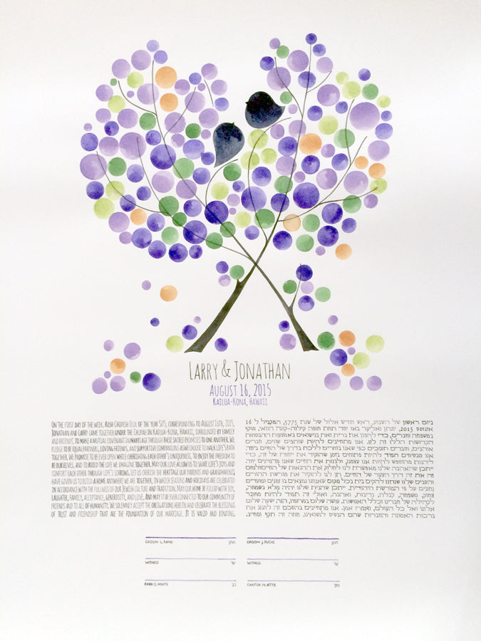 Custom Ketubah painting >< Reform, Interfaith and traditional Ketubah texts
