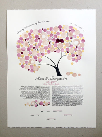 Gold Rings Ketubah watercolor painting - boho art, watercolor painting, gold leaf, tree of life