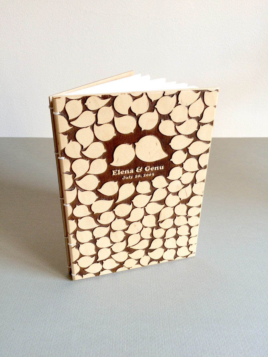 Wood Wedding Guest Book - Coptic Stitch binding Modern Sketchbook - BIRD CROWD