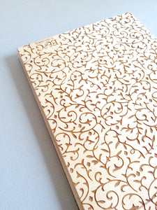 Custom Engraved Wood Guest Book - Coptic Stitch binding - DAMASK
