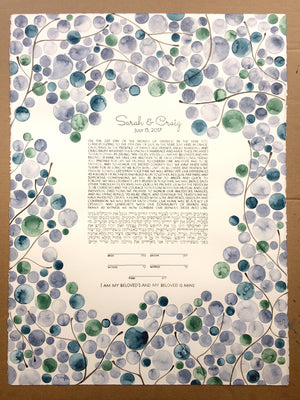 Greenery Wedding, Custom Ketubah, Artwork Commission, watercolor painting
