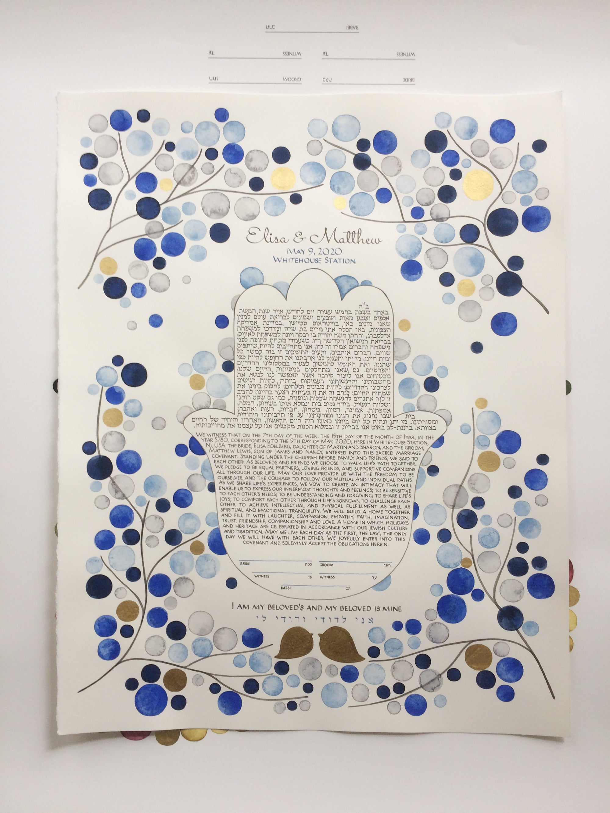 Watercolor Hamsa Ketubah <> Blue Gold watercolor painting and calligraphy