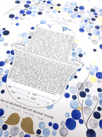 Load image into Gallery viewer, Watercolor Hamsa Ketubah <> Blue Gold watercolor painting and calligraphy