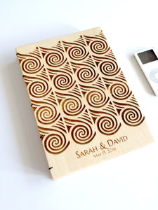Coptic binding Custom Engraved Wood Sketchbook Journal Notebook - CUCUTENI