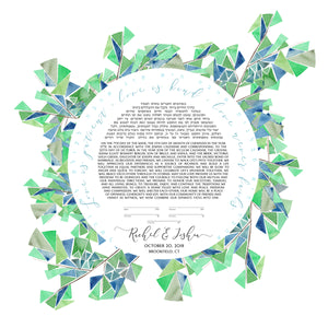 Ikebana Ketubah >_ Greenery Watercolor custom artwork painting