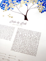 Load image into Gallery viewer, Jade-Josh wedding Watercolor ketubah-guestbook set painting