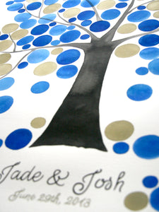 Jade-Josh wedding Watercolor ketubah-guestbook set painting