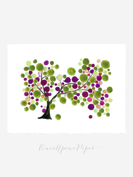 Wedding GuestBook Mother Daughter Tree - 150 Guest Signatures - Custom Guest book alternative,  wedding tree, Guest Signature Tree Print