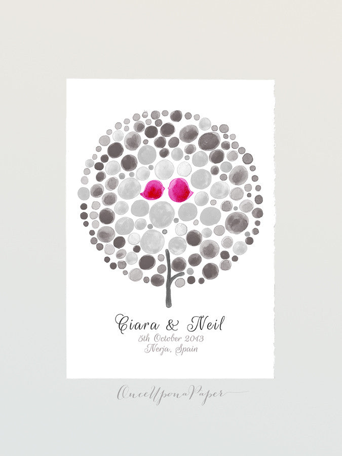 Wedding Guest Book Tree Alternative Love Birds - 100 Guest Signatures - Spanish wedding guest book art Poster Custom Wedding Guest Book Tree