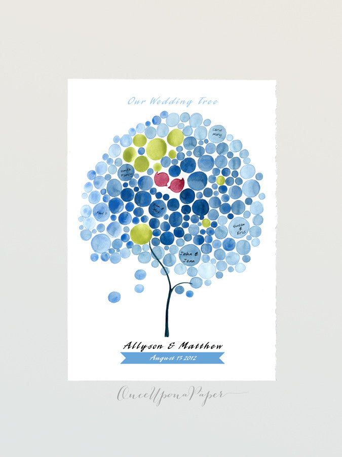 Wedding Guest Book ZEN FOUNTAIN TREE with Love Birds - 150 Guest Signatures - Personalized Guest book alternative wedding wish tree keepsake