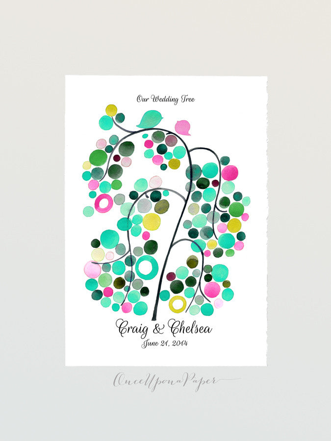 Wedding Guest book WHITE WILLOW TREE - 100 Guest Signatures - Modern Guestbook alternative original wedding wish tree Interactive Art Poster