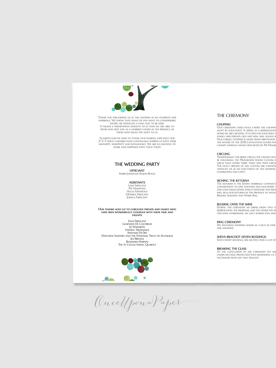 Programme Card Design - Printable Custom Wedding Jewish programme