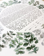 Load image into Gallery viewer, Watercolor Eucalyptus Ray < Trilingual Ketubah Artwork Commission