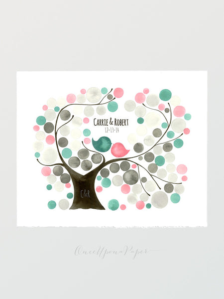 Wedding Guestbook Tree - Oval Garden Tree - Alternative print - 100 guest sign ons - Wedding Modern guest book Love Birds Watercolor gift