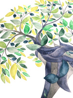 Load image into Gallery viewer, Jewish Family Tree watercolor painting with Hebrew names >>> Secular Olive Tree, Custom ancestry tree of life