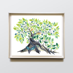 Jewish Family Tree watercolor painting with Hebrew names >>> Secular Olive Tree, Custom ancestry tree of life