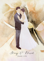 Load image into Gallery viewer, Happily just married Modern Guest Book print - with Painted Couple Portraits