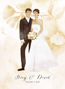 Happily just married Modern Guest Book print - with Painted Couple Portraits