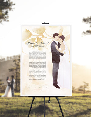Our first married Christmas together Ketubah print - Custom Wedding Portrait