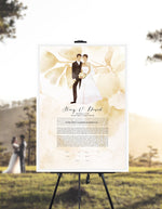 Load image into Gallery viewer, Our first married Christmas together Ketubah print - Custom Wedding Portrait