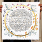 Load image into Gallery viewer, Bride and Groom Gold Ring Custom Contemporary Ketubah < Trilingual Ketubah