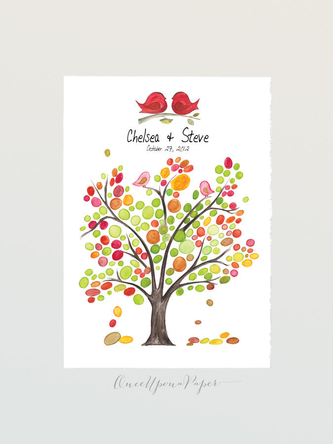 Wedding Guest Book Alternative WHITE ASH TREE Rustic - 150 Guest Sign in - Personalized Signature Wedding Tree with Love Birds  art Poster