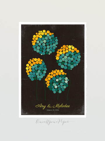 Rustic Wedding Signature Guest Book Alternative Print, WILD DANDELION FLOWERS - 175 Guest Signatures - Modern Unique Flower Guestbook poster