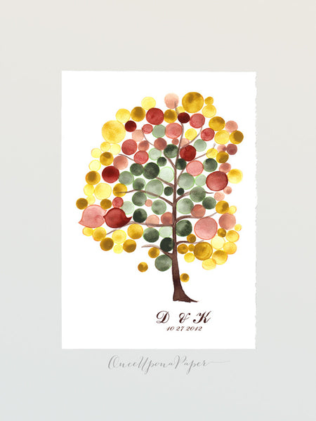 Custom Wedding Guest Book Alternative YET AUTUMN TREE - 100 Guest Signatures - Wedding guest book Love Birds Wedding Guest Book art poster