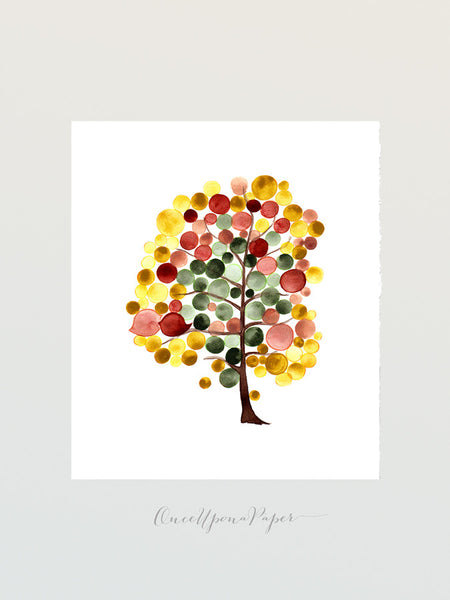 YET AUTUMN TREE - Giclee Art Print Reproduction of Watercolor Painting - Trees of Life Collection