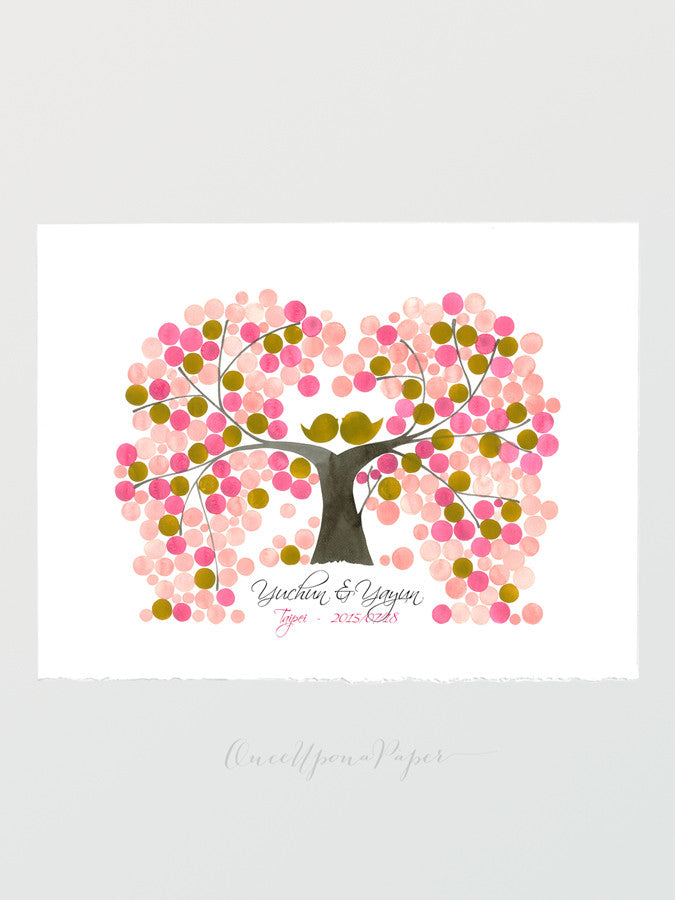 Unique Wedding Guest Book INDIAN PEACH TREE