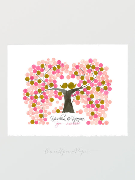 Unique Wedding Guest Book INDIAN PEACH TREE - 225 Guest Signatures - Guest book alternative wedding tree interactive wish Tree Print Poster