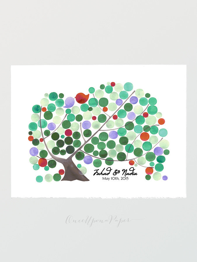 Modern Wedding Guest Book Alternative art print JAPANESE MAPLE TREE - 125 orbs - Wedding Guest Book Love Birds keep sake watercolor painting