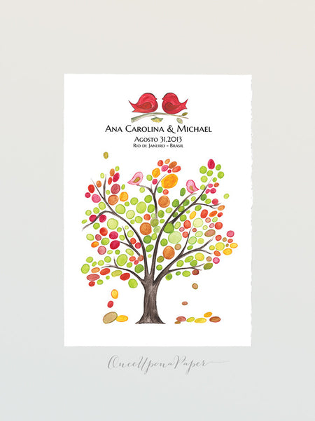 Wedding Guest Book POP ASH TREE Alternative Love Birds - 100 Guest Signatures - Personalized guest book art Poster Tree of Life Wedding gift