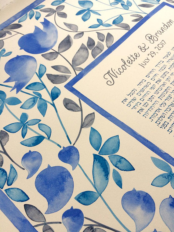 Modern Illuminated manuscript Watercolor Ketubah Custom Commission - EDEN GARDEN