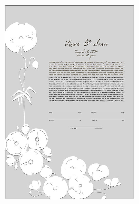 Papercut Ketubah Poppy Flowers - Modern Ketubah Print with papercut layer